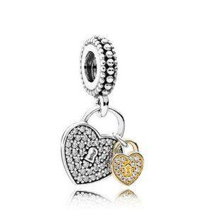 Pandora Double Heart Lock Dangle Charm